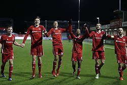 (L-R) Damon Mirani of Almere City, Josef Kvida of Almere City, Anass Ahannach of Almere City, Jerge Hoefdraad of Almere City<br />, Javier Vet of Almere City, Kees van Buuren of Almere City during the Jupiler League match between Almere City FC and NEC Nijmegen at the Yanmar stadium on January 19, 2018 in Almere, The Netherlands