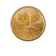 US one Dollar coin (100 cents) isolated on white background