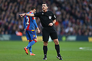 Referee Neil Swarbrick in action. Barclays Premier League match, Crystal Palace v Swansea city at Selhurst Park in London on Monday 28th December 2015.<br /> pic by John Patrick Fletcher, Andrew Orchard sports photography.