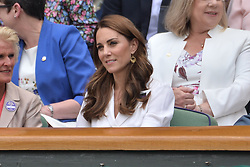 © Licensed to London News Pictures. 02/07/2019. London, UK. HRH The Duchess of Sussex watches center court tennis fro  the Royal Box on Day 2 of the Wimbledon Tennis Championships 2019 held at the All England Lawn Tennis and Croquet Club. Photo credit: Ray Tang/LNP