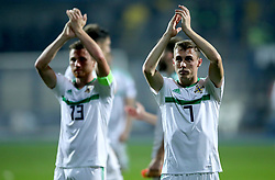 Northern Ireland's Gavin Whyte (right) applauds the fans at the end of the Nations League match at The Grbavica Stadium, Sarajevo.