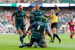 Ofisa Treviranus of London Irish celebrates his try with team-mates - Mandatory byline: Patrick Khachfe/JMP - 07966 386802 - 02/09/2017 - RUGBY UNION - Twickenham Stadium - London, England - London Irish v Harlequins - Aviva Premiership
