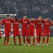 Liverpool's players during the UEFA Europa League Round of 32 second leg soccer match Besiktas between Liverpool at Ataturk Olimpiyat stadium in Istanbul Turkey on Thursday February 26, 2015. Photo by Aykut AKICI/TURKPIX