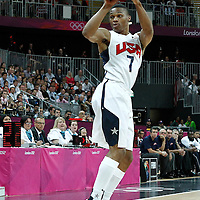 02 August 2012: USA Russell Westbrook looks to pass the ball during 156-73 Team USA victory over Team Nigeria, during the men's basketball preliminary, at the Basketball Arena, in London, Great Britain.