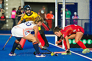 The Netherlands Laura Nunnink is tackled by Stephanie De Groof of Belgium. The Netherlands v Belgium - Unibet EuroHockey Championships, Lee Valley Hockey & Tennis Centre, London, UK on 26 August 2015. Photo: Simon Parker