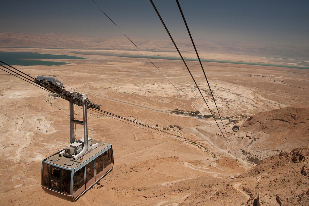 Middle East, Israel, Cable car to Masada National Park, Roman fortress on top of a rock plateau overlooking the Dead Sea in the Judean Desert