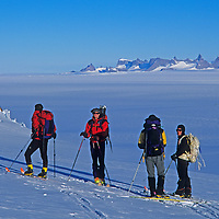 Expedition members take a break during a ski tour in Queen Maud Land, Antarctica.
