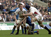 Twickenham, Surrey, 9th March2003, Six nations International Rugby,  RFU Stadium, England, [Mandatory Credit; Peter Spurrier/Intersport Images]<br /> Photo Peter Spurrier<br /> 09/03/2003<br /> RBS Six Nations Rugby England v Italy<br /> Will Greenwood passes the ball to Danny Grewcock