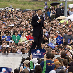 Austin, Texas: February 23, 2007: U.S. Senator Barack Obama (D-Illinois) speaks to the crowd at his second major rally after announcing his candidacy for President of the United States last month. Obama spoke through a slight drizzle to a crowd of about 17,000 at Austin's Town Lake.   ©Bob Daemmrich /