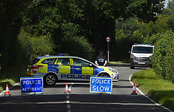 EDITORS NOTE IMAGE PIXELATED BY PA PICTURE DESK The scene in Wymondham Road in Hethel, near Norwich, where a pedestrian was struck by a marked police van responding to a 999 call.