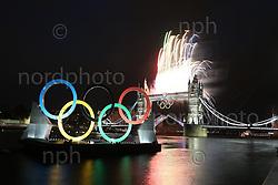 27.07.2012, Tower Bridge, London, GBR, Opening Ceremony, im Bild<br /> Tower Bridge während der Eröffnung <br /> <br /> Foto © nph / Mueller