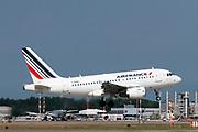 Airfrance Airbus A318 passenger jet at takeoff Photographed at Malpensa Airport, Milan, Italy