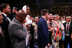Andy Ruiz Jr (right) celebrates the win in the WBA, IBF, WBO and IBO Heavyweight World Championships title fight against Anthony Joshua at Madison Square Garden, New York.
