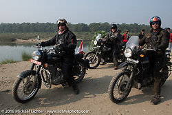 Rip Rolfsen and Round the World Doug Wothke along the East Rapti River in Chitwan National Park for our Himalayan Heroes adventure day-3 ride from Chitwan to Pokhara, Nepal. Thursday, November 8, 2018. Photography ©2018 Michael Lichter.