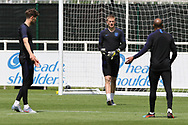 England goalkeeper Jordan Pickford talks with his team mates during the training session for England at St George's Park National Football Centre, Burton-Upon-Trent, United Kingdom on 28 May 2019.