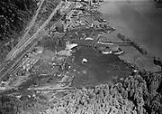 "Ackroyd 01446-1. ""Portland Gas & Coke. Linnton. aerial. April 26, 1949"" (5x7"", Gasco, Wacker Siltronic, Guilds Lake)"