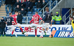 Hamilton's Alistair Crawford and Hamilton's Mickeal Antoine-Curier miss a chance.<br /> Falkirk 0 v 0 Hamilton, Scottish Championship game at The Falkirk Stadium. © Michael Schofield 2014.