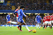 Chelsea's Willian crosses the ball during the Barclays Premier League match between Chelsea and Manchester United at Stamford Bridge, London, England on 7 February 2016. Photo by Phil Duncan.