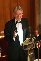 Chancellor of the Exchequer Philip Hammond delivers a speech during the Commonwealth Heads of Government banquet at the Guildhall in London during the Commonwealth Heads of Government Meeting biennial summit.