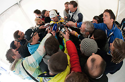 KRANJEC Robert (SLO), overall Skiflying Champion talks to journalists  after the Flying Hill Individual competition at 4th day of FIS Ski Jumping World Cup Finals Planica 2012, on March 18, 2012, Planica, Slovenia. (Photo by Vid Ponikvar / Sportida.com)