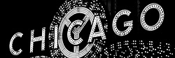 Panoramic photo of the Chicago Theatre sign marquee in black and white. The Chicago Theater is a Chicago Landmark and is listed with the National Register of Historic Places.