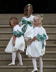 Bridesmaids arrive for the wedding of Princess Eugenie to Jack Brooksbank at St George's Chapel in Windsor Castle.