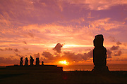 Sunset, Tahai Archeological site, Easter Island (Rapa Nui), Chile
