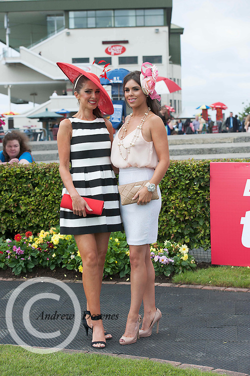 30/07/2014 Sophie Small and Daniella Small   from Galway at the Wednesday Plate Day of the Galway Summer racing Festival. Photo: Andrew Downes