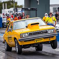 Ashleigh Wroe launchinghard in the Thornlie Automotives Torana.  96fm's Power Palooza II at Perth Motorplex. Photo by Phil Luyer, High Octane Photos