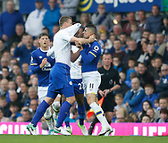 Robert Huth of Leicester City grapples with Kevin Mirallas of Everton during the English Premier League match at Goodison Park Stadium, Liverpool. Picture date: April 9th 2017. Pic credit should read: Simon Bellis/Sportimage