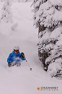 Skiing powder at Whitefish Mountain Resort in Whitefsh, Montana, USA model released