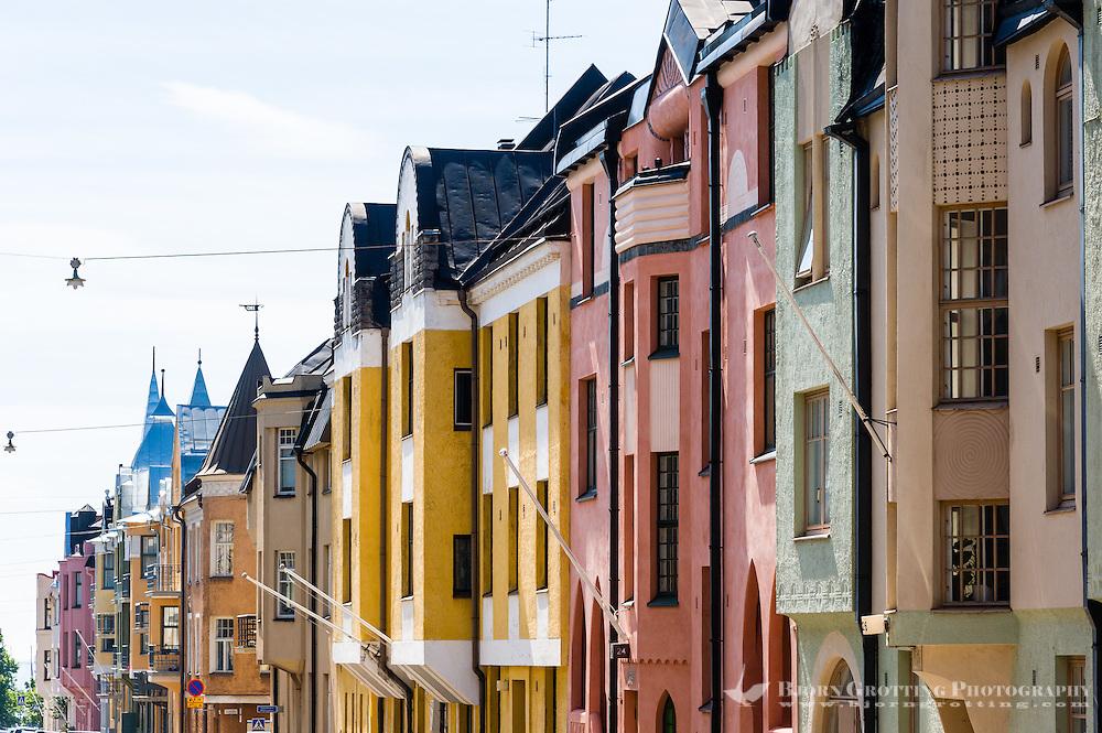 Finland, Helsinki. Jugendstil buildings in Ullanlinna.