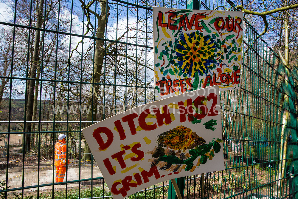 Signs placed on a fence by environmental activists are pictured during tree felling operations for the HS2 high-speed rail link in Jones Hill Wood on 9th April 2021 in Wendover, United Kingdom. Tree felling work began this week, in spite of the presence of resting places and/or breeding sites for pipistrelle, barbastelle, noctule, brown long-eared and natterer's bats, following the issue by Natural England of a bat licence to HS2's contractors on 30th March.