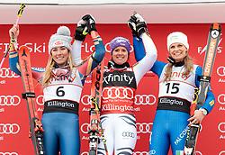 25.11.2017, Killington, USA, FIS Weltcup Ski Alpin, Killington, Riesenslalom, Damen, Siegerehrung, im Bild v.l. Mikaela Shiffrin (USA, 2. Platz), Viktoria Rebensburg (GER, 1. Platz), Manuela Moelgg (ITA, 3. Platz) // f.l. second placed Mikaela Shiffrin of the USA winner Viktoria Rebensburg of Germany third placed Manuela Moelgg of Italy during the winner Ceremony for the ladie's Giant Slalom of FIS Ski Alpine World Cup in Killington, United Staates on 2017/11/25. EXPA Pictures © 2017, PhotoCredit: EXPA/ Johann Groder