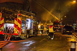 London, January 09 2018. Over 90 Firefighters and 15 fire engines tackle a blaze at a paint factory in Waterloo Road, Staples Corner, west London. © Paul Davey