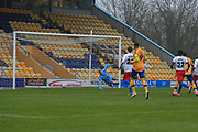 GOAL 1 - 1 Harry Charsley of Mansfield Town (7) scores during the The FA Cup match between Mansfield Town and Dagenham and Redbridge at the One Call Stadium, Mansfield, England on 29 November 2020.