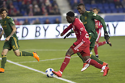 March 10, 2018 - Harrison, New Jersey, United States - Harrison, NJ - March 10, 2018: Derrick Etienne Jr (7) of Red Bulls controls ball during regular MLS game against Portland Timbers at Red Bull Arena Red Bulls won 4 - 0 (Credit Image: © Lev Radin/Pacific Press via ZUMA Wire)