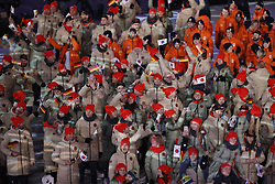 February 25, 2018 - Pyeongchang, KOREA - Athletes from Germany during the closing ceremony for the Pyeongchang 2018 Olympic Winter Games at Pyeongchang Olympic Stadium. (Credit Image: © David McIntyre via ZUMA Wire)
