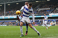 Pawel Wszolek of Queens Park Rangers battling for the ball with Jonathan Kodjia of Aston Villa. EFL Skybet championship match, Queens Park Rangers v Aston Villa at Loftus Road Stadium in London on Sunday 18th December 2016.<br /> pic by Steffan Bowen, Andrew Orchard sports photography.