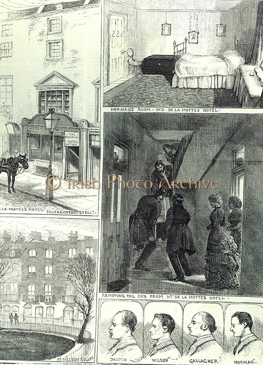 Fenian explosives conspiracy, April 1883. Police removing from Mrs De la Motte's hotel, near The Strand, London, the box of nitro-glycerine brought by Norman from Birmingham. Below: Conspirators Dalton, Wilson, Gallagher, and Norman. From 'The Illustrated London News', 14 April 1883.