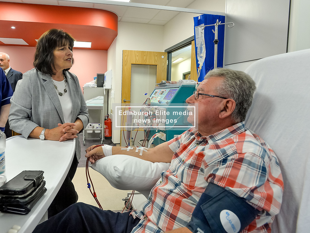 Pictured: Ms Freeman meets dialysis patient Stewart Granger from Inchinnan who is waiting for a transplant.<br /> <br /> Health Secretary Jeane Freeman visited patients waiting for transplants and successful transplant patients to highlight the uptake in organ donation registrations.<br /> <br /> © Dave Johnston / EEm