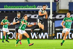 Joe Thomas of Ospreys takes the high ball<br /> <br /> Photographer Craig Thomas/Replay Images<br /> <br /> Guinness PRO14 Round 4 - Ospreys v Benetton Treviso - Saturday 22nd September 2018 - Liberty Stadium - Swansea<br /> <br /> World Copyright © Replay Images . All rights reserved. info@replayimages.co.uk - http://replayimages.co.uk