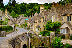 View of historic village Castle Combe in Cotswolds in Wiltshire, England, United Kingdom