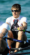 Munich, GERMANY, GBR LM2X , Bow, Zac PURCHASE, during the FISA World Cup at the Munich Olympic Rowing Course, Thur's.  08.05.2008  [Mandatory Credit Peter Spurrier/ Intersport Images] Rowing Course, Olympic Regatta Rowing Course, Munich, GERMANY