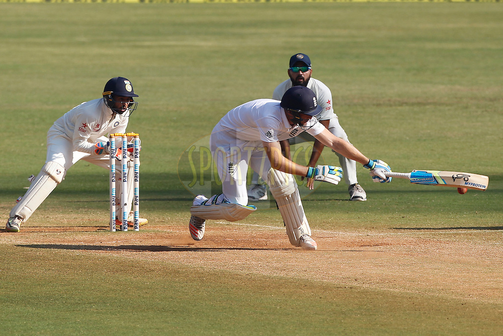 Jos Buttler of England plays a shot during day 5 of the fourth test match between India and England held at the Wankhede Stadium, Mumbai on the 12th December 2016.<br /> <br /> Photo by: Deepak Malik/ BCCI/ SPORTZPICS