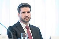 20 FEB 2020, BERLIN/GERMANY:<br /> Dr. Tim Schönborn, Geschaeftsfuehrerder Kommission zur Ermittlung des Finanzbedarfs der Rundfunkanstalten, KEF, waehrend einer Pressekonferenz zur Uebergabe des 22. Bericht der KEF, Landesvertertung Rheinland-Pfalz<br /> IMAGE: 20200220-01-027