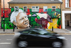 """© Licensed to London News Pictures. 06/05/2019. London, UK.  A car travels past a new David Attenborough Mural painted on the side of a house in St Matthew's Row, east London.  The mural by urban artist, Jerome shows natural historian, David Attenborough with a message, """"There is no question climate change is happening. The only arguable point is what part humans are playing in it"""". Photo credit: Vickie Flores/LNP"""