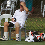 Peter Keller, Australia, injured in action in the 65 Mens Singles  during the 2009 ITF Super-Seniors World Team and Individual Championships at Perth, Western Australia, between 2-15th November, 2009.