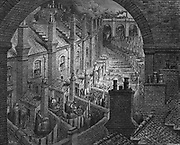 Over London by Rail'  From Gustave Dore and Blanchard Jerrold 'London: A Pilgrimage' London 1872.  Back view of typical 19th century London artisan terrace houses with washhouses, privies and yards leading on to alley serving them and similar terraces, all dominated by the railway viaducts superimposed on their neighbourhood. Wood engraving.