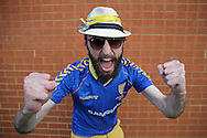 a AFC Wimbledon fan chanting outside The Cherry Red Records Stadium before k/o. Skybet football league two play off semi final, 1st leg match, AFC Wimbledon v Accrington Stanley at the Cherry Red Records Stadium in Kingston upon Thames, Surrey on Saturday 14th May 2016.<br /> pic by John Patrick Fletcher, Andrew Orchard sports photography.